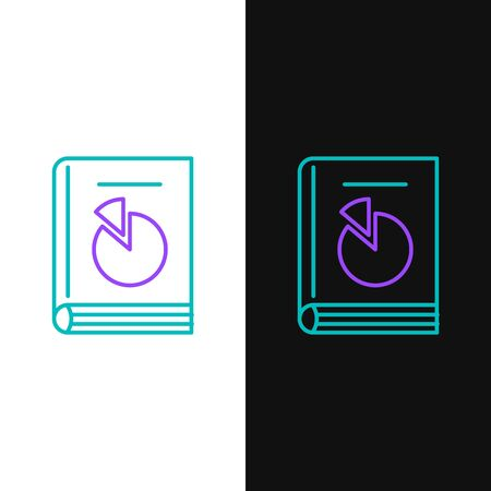 Green and purple line User manual icon isolated on white and black background. User guide book. Instruction sign. Read before use. Vector Illustration