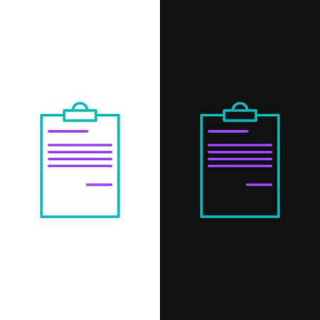 Green and purple line Document icon isolated on white and black background. File icon. Checklist icon. Business concept. Vector Illustration