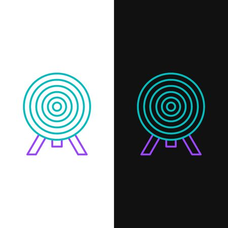 Green and purple line Target icon isolated on white and black background. Dart board sign. Archery board icon. Dartboard sign. Business goal concept. Vector Illustration