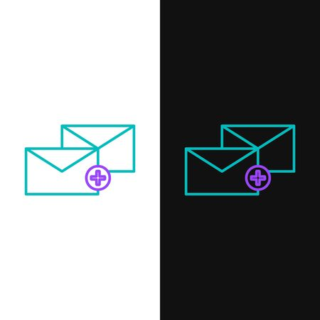 Green and purple line Envelope icon isolated on white and black background. Received message concept. New, email incoming message, sms. Mail delivery service. Vector Illustration Ilustração