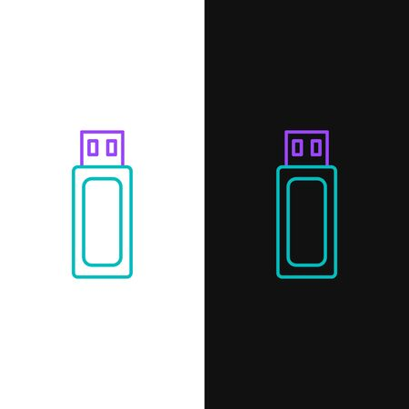 Green and purple line USB flash drive icon isolated on white and black background. Vector Illustration