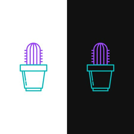 Green and purple line Cactus and succulent in pot icon isolated on white and black background. Plant growing in a pot. Potted plant sign. Vector Illustration