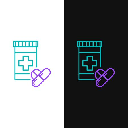 Green and purple line Medicine bottle and pills icon isolated on white and black background. Bottle pill sign. Pharmacy design. Vector Illustration