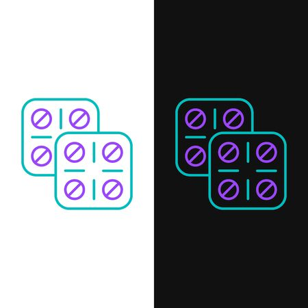 Green and purple line Pills in blister pack icon isolated on white and black background. Medical drug package for tablet, vitamin, antibiotic, aspirin. Vector Illustration Ilustração
