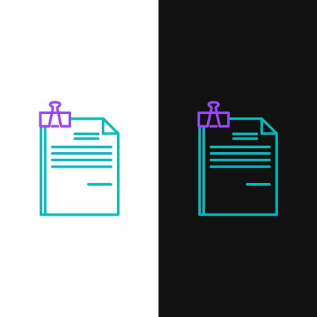 Green and purple line File document and binder clip icon isolated on white and black background. Checklist icon. Business concept. Vector Illustration 向量圖像