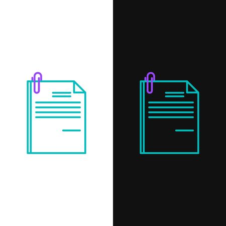 Green and purple line File document and paper clip icon isolated on white and black background. Checklist icon. Business concept. Vector Illustration