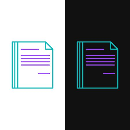 Green and purple line File document icon isolated on white and black background. Checklist icon. Business concept. Vector Illustration