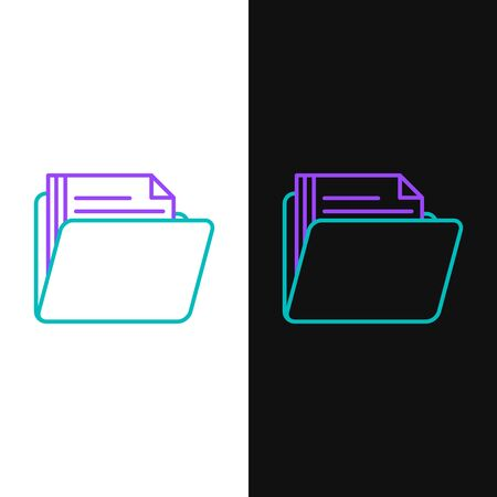 Green and purple line Document folder icon isolated on white and black background. Accounting binder symbol. Bookkeeping management. Vector Illustration