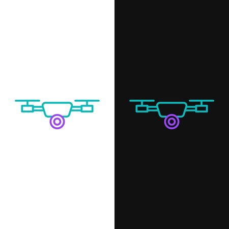 Green and purple line Drone flying with action video camera icon isolated on white and black background. Quadrocopter with video and photo camera symbol. Vector Illustration
