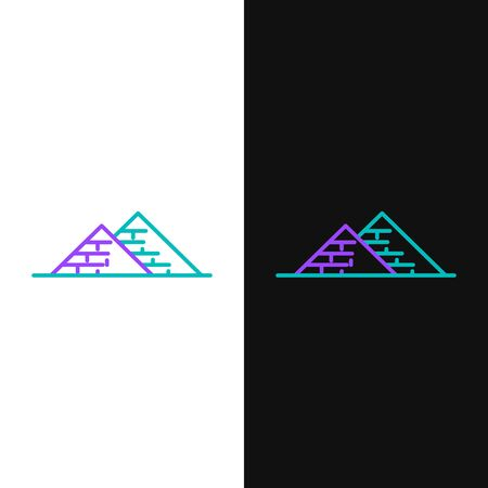 Green and purple line Egypt pyramids icon isolated on white and black background. Symbol of ancient Egypt. Vector Illustration