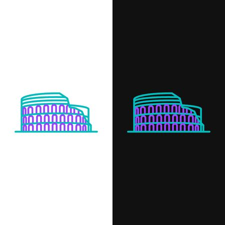 Green and purple line Coliseum in Rome, Italy icon isolated on white and black background. Colosseum sign. Symbol of Ancient Rome, gladiator fights. Vector Illustration