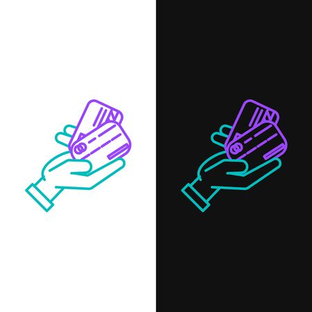 Green and purple line Human hand holding with credit card icon isolated on white and black background. Online payment. Pay by card. Financial operations. Vector Illustration