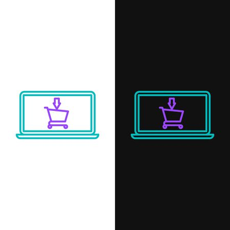 Green and purple line Shopping cart on screen laptop icon isolated on white and black background. Concept e-commerce, e-business, online business marketing. Vector Illustration Ilustração