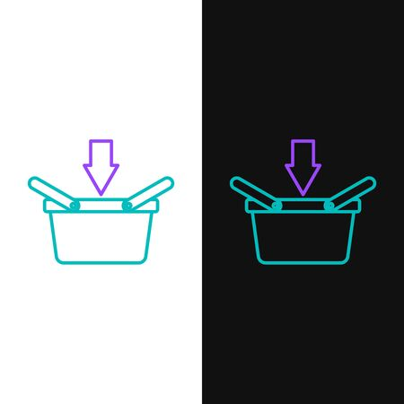 Green and purple line Shopping basket icon isolated on white and black background. Online buying concept. Delivery service sign. Shopping cart symbol. Vector Illustration Ilustração