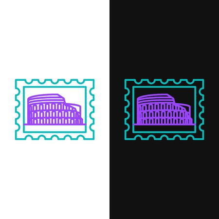 Green and purple line Postal stamp and Coliseum icon isolated on white and black background. Colosseum sign. Symbol of Ancient Rome, gladiator fights. Vector Illustration
