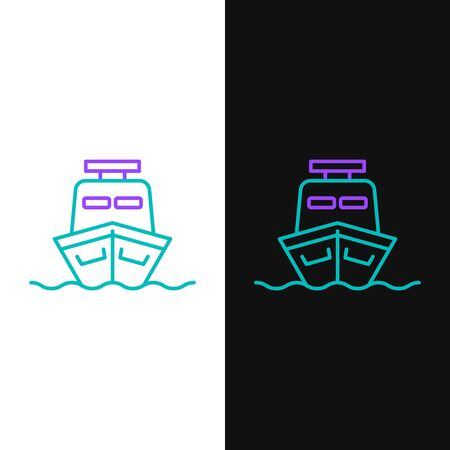 Green and purple line Ship icon isolated on white and black background. Vector Illustration