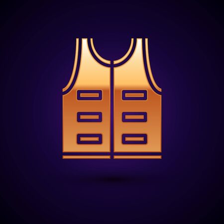 Gold Hunting jacket icon isolated on dark blue background. Hunting vest. Vector Illustration