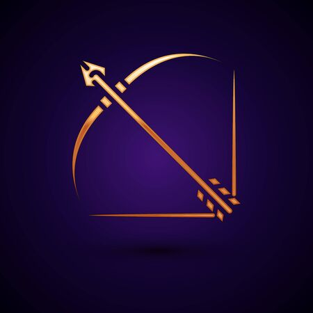 Gold Bow and arrow in quiver icon isolated on dark blue background. Vector Illustration