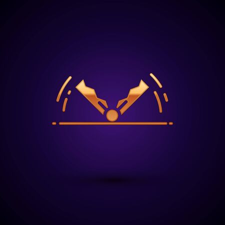 Gold Trap hunting icon isolated on dark blue background. Vector Illustration