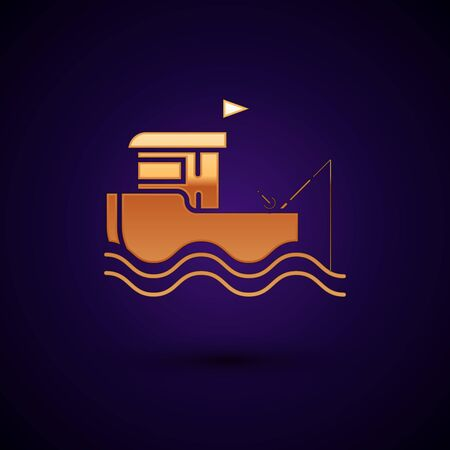 Gold Fishing boat with fishing rod on water icon isolated on dark blue background. Vector Illustration