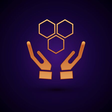 Gold Honeycomb and hands icon isolated on dark blue background. Honey cells symbol. Sweet natural food. Vector Illustration
