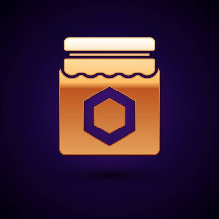 Gold Jar of honey icon isolated on dark blue background. Food bank. Sweet natural food symbol. Vector Illustration Ilustração
