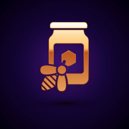Gold Jar of honey with bee icon isolated on dark blue background. Sweet natural food in bank. Honeybee or apis with wings symbol. Flying insect. Vector Illustration