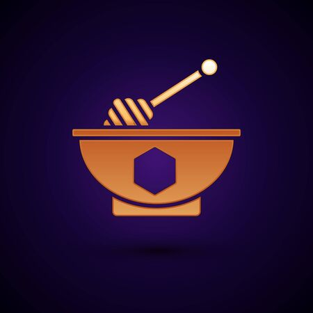 Gold Honey dipper stick and bowl icon isolated on dark blue background. Honey ladle. Vector Illustration Çizim