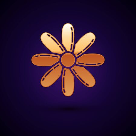Gold Flower icon isolated on dark blue background. Sweet natural food. Vector Illustration