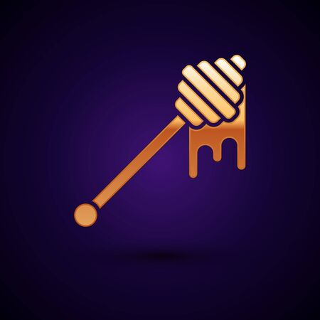 Gold Honey dipper stick with dripping honey icon isolated on dark blue background. Honey ladle. Vector Illustration