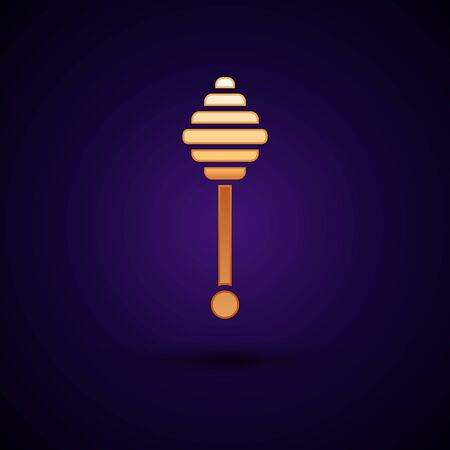 Gold Honey dipper stick icon isolated on dark blue background. Honey ladle. Vector Illustration Çizim