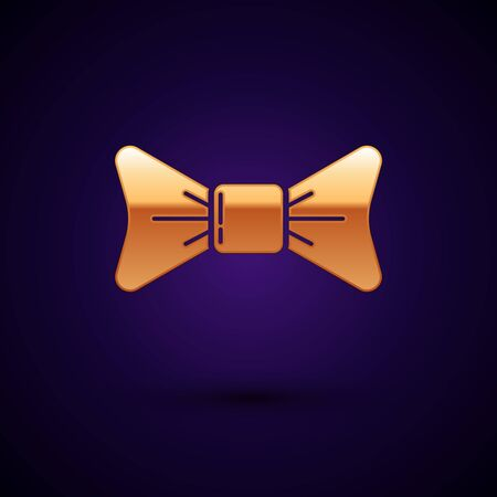 Gold Bow tie icon isolated on dark blue background. Vector Illustration