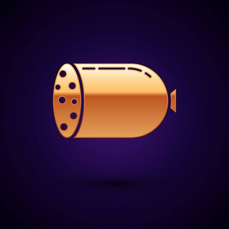 Gold Salami sausage icon isolated on dark blue background. Meat delicatessen product. Vector Illustration