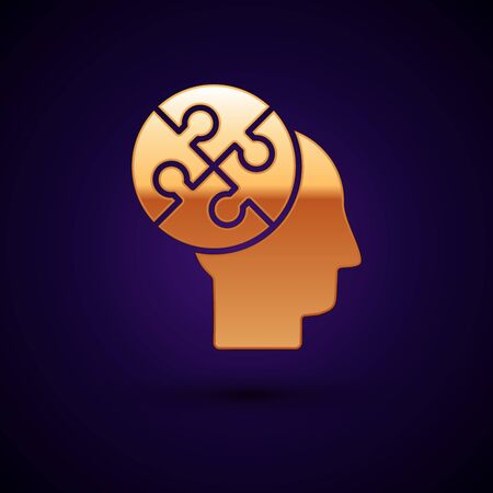 Gold Human head puzzles strategy icon isolated on dark blue background. Thinking brain sign. Symbol work of brain. Vector Illustration