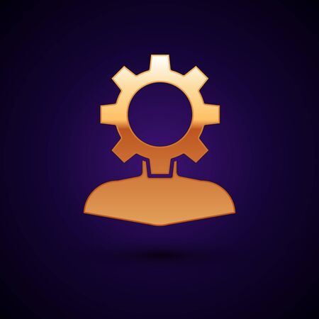 Gold Human with gear inside icon isolated on dark blue background. Artificial intelligence. Thinking brain sign. Symbol work of brain. Vector Illustration