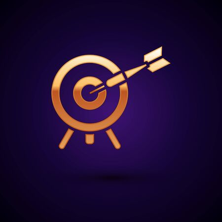 Gold Target with arrow icon isolated on dark blue background. Dart board sign. Archery board icon. Dartboard sign. Business goal concept. Vector Illustration Иллюстрация