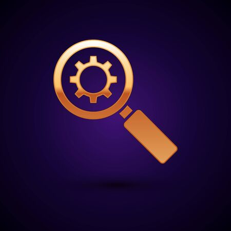 Gold Magnifying glass and gear icon isolated on dark blue background. Search gear tool. Business analysis symbol. Vector Illustration