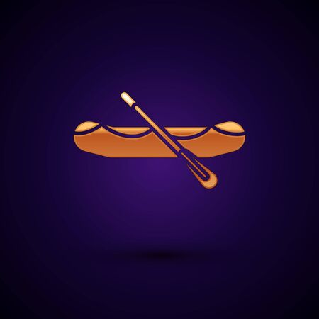 Gold Rafting boat icon isolated on dark blue background. Inflatable boat with paddles. Water sports, extreme sports, holiday, vacation. Vector Illustration Иллюстрация