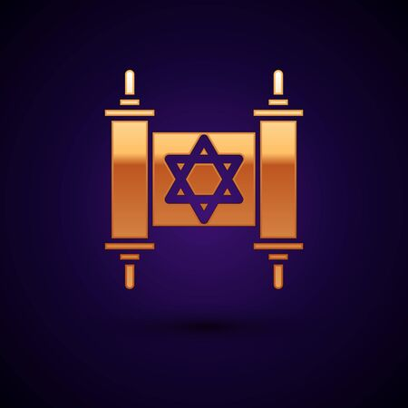 Gold Torah scroll icon isolated on dark blue background. Jewish Torah in expanded form. Star of David symbol. Old parchment scroll. Vector Illustration