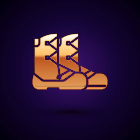Gold Boots icon isolated on dark blue background. Vector Illustration