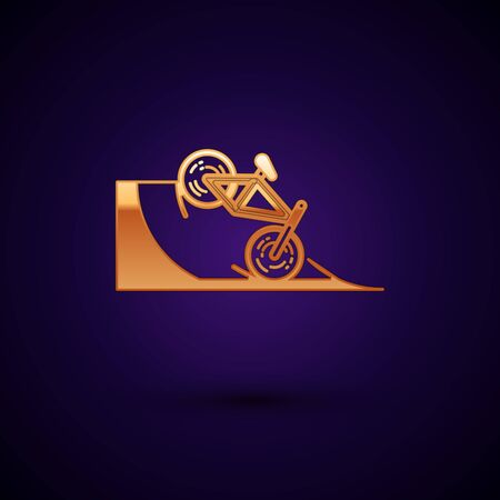 Gold Bicycle on street ramp icon isolated on dark blue background. Skate park. Extreme sport. Sport equipment. Vector Illustration