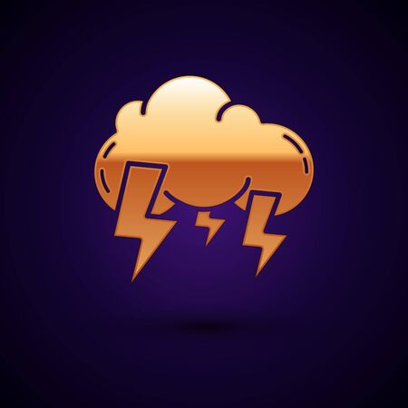 Gold Storm icon isolated on dark blue background. Cloud and lightning sign. Weather icon of storm. Vector Illustration Illustration