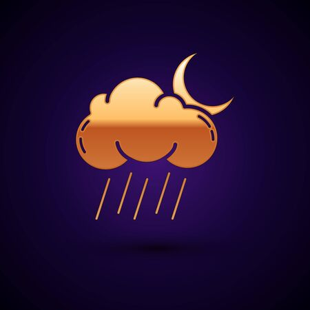 Gold Cloud with rain and moon icon isolated on dark blue background. Rain cloud precipitation with rain drops. Vector Illustration