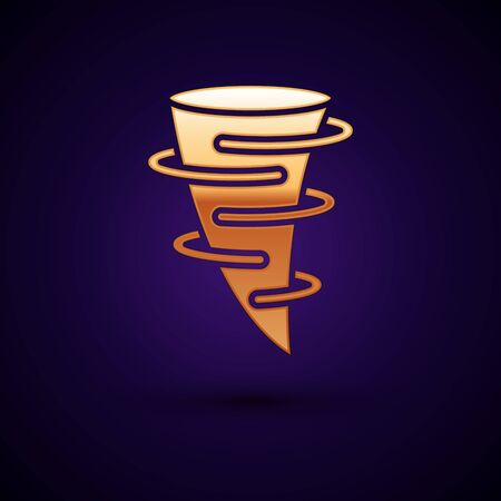 Gold Tornado icon isolated on dark blue background. Vector Illustration