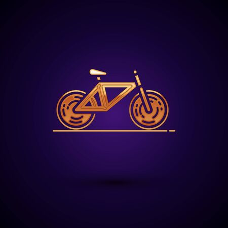 Gold Bicycle icon isolated on dark blue background. Bike race. Extreme sport. Sport equipment. Vector Illustration
