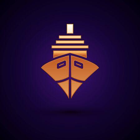 Gold Cargo ship icon isolated on dark blue background. Vector Illustration Illustration