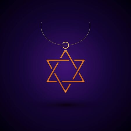 Gold Star of David necklace on chain icon isolated on dark blue background. Jewish religion symbol. Symbol of Israel. Jewellery and accessory. Vector Illustration Illustration