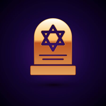 Gold Tombstone with star of david icon isolated on dark blue background. Jewish grave stone. Gravestone icon. Vector Illustration