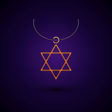 Gold Star of David necklace on chain icon isolated on dark blue background. Jewish religion symbol. Symbol of Israel. Jewellery and accessory. Vector Illustration