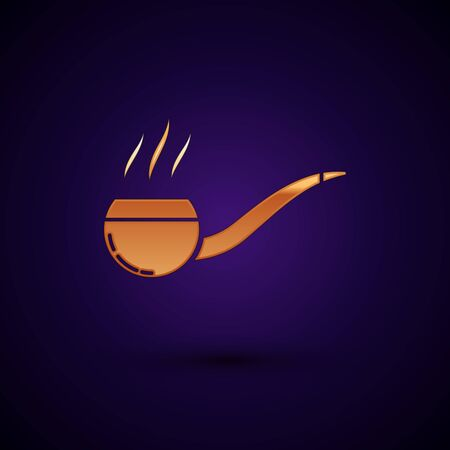 Gold Smoking pipe with smoke icon isolated on dark blue background. Tobacco pipe. Vector Illustration